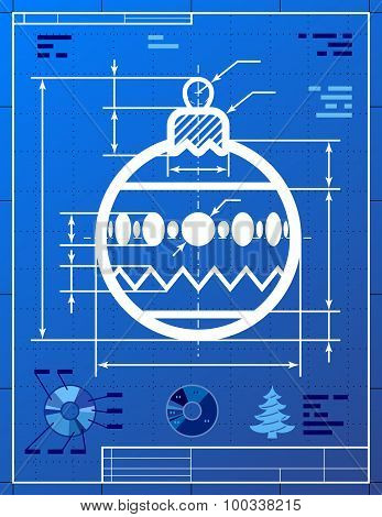 Christmas Tree Ball Symbol As Blueprint Drawing