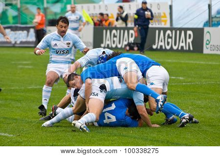 Rome, Italy - November 18 2006. Rugby Test Match Italy-argentina. Scrum