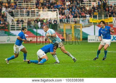 Rome, Italy - November 18 2006. Rugby Test Match Italy-argentina. Italian And Argentinian Players In
