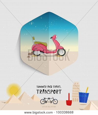 Vector summer and travel transport icon. Flat style. Moped logo illustration.