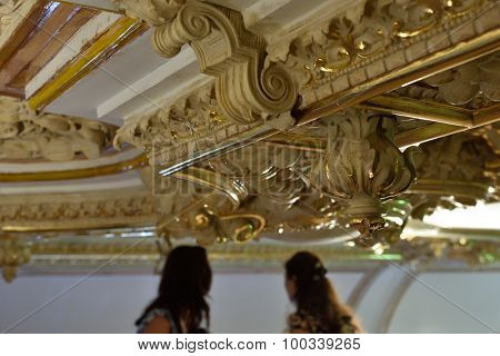 ST. PETERSBURG, RUSSIA - AUGUST 13, 2015: Journalists make photos of restored interiors of the Marble Palace. Built in 1768-1785 by design of Antonio Rinaldi, now the palace belongs to Russian Museum