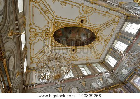 ST. PETERSBURG, RUSSIA - AUGUST 13, 2015: Ceiling in the restored interior of the Marble Palace. Built in 1768-1785 by design of Antonio Rinaldi, now the palace is the department of Russian Museum