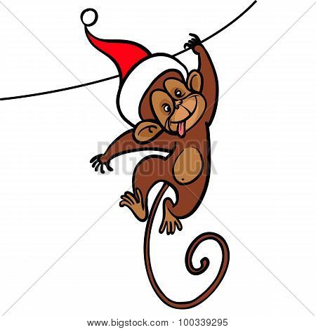 Symbol Of 2016 Year - Monkey, Congrats All New Year. Vector Illustration.