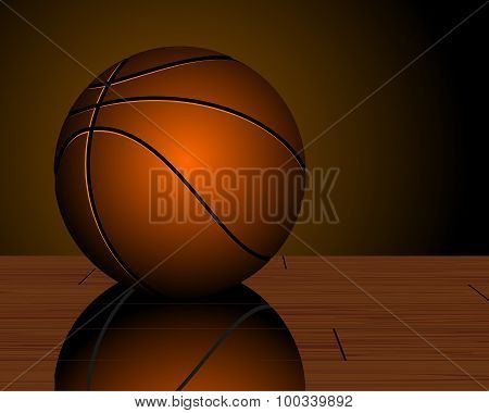 Basketball Ball On Parquet