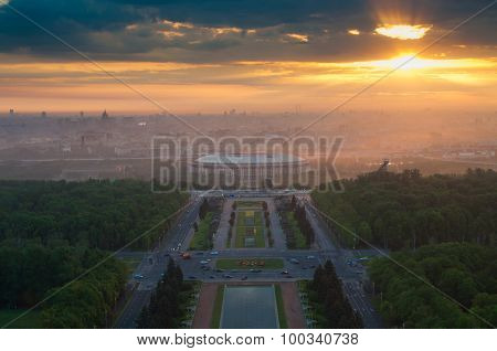 Luzhniki sport complex and beautiful sunrise at summer morning in Moscow