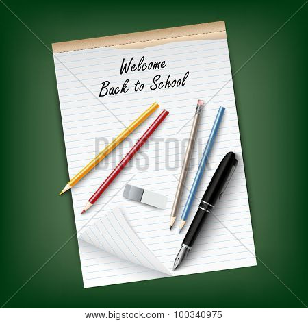 Back To School With A Tear Notebook And Supplies