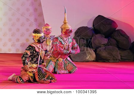Bangkok, Thailand - January 15: Thai Traditional Dress. Actors Performs Thai Ancient Dancing Art Of