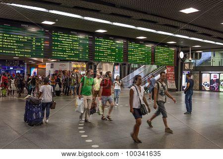 Midi Train Station In Brussels, Belgium