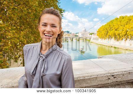 Elegant, Happy Woman Near Tiber River In Rome