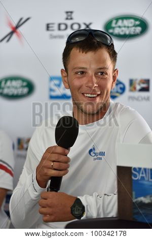 ST. PETERSBURG, RUSSIA - AUGUST 20, 2015: Igor Lisovenko, skipper of Gazprom Team of Russia on the press conference during the 1st day of St. Petersburg stage of Extreme Sailing Series