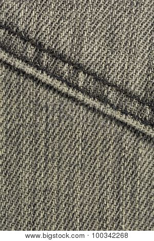 Grey Denim With Stitches Background