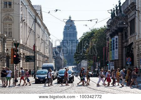 City Street And The Palace Of Justice In Brussels, Belgium
