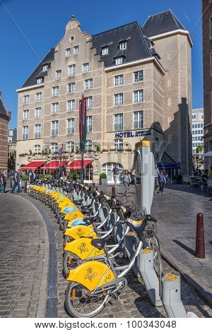 Bikes At A Villo! Station In Brussels, Belgium