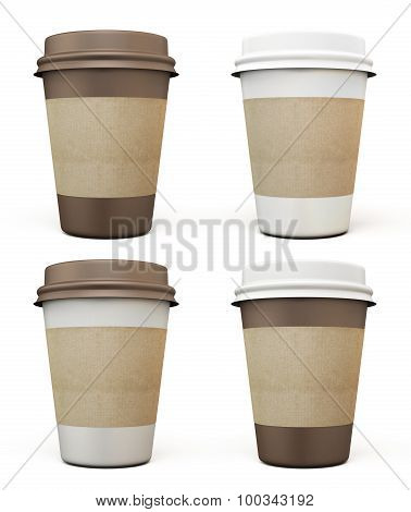 Set Of Disposable Cups For Coffee In Different Colors