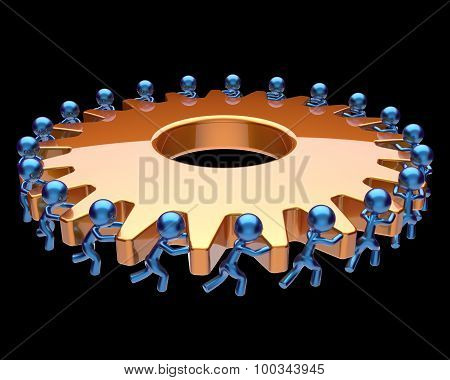 Teamwork Partnership Gearwheel Cogwheel Characters Men