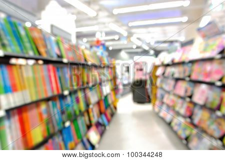 Blur Or Defocus Background Of Stack Of Book And Bookshelf