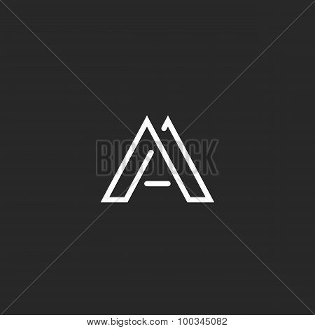 Letter A Logo Monogram, Design Thin Line Hipster Emblem, Mockup Black And White Elegant Business Car