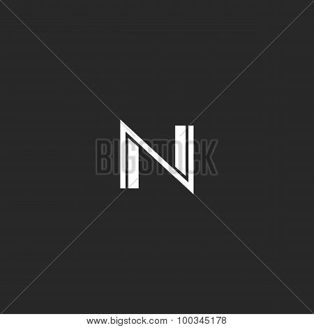 N Logo Letter. Monogram Of Thin And Bold Lines, Black And White Mockup Web Icon