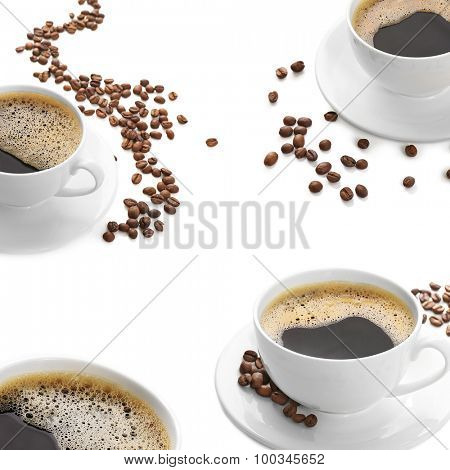 Cups of coffee isolated on white