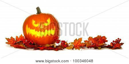 Halloween Jack o Lantern with red autumn leaves border