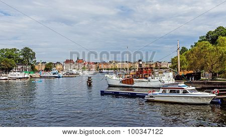 Boats Moored At The Skeppsholmen Islet