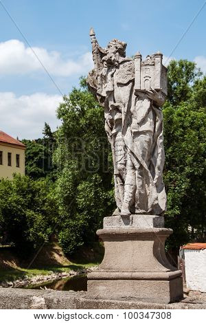 Baroque statue of St. Leopold on a bridge in Namest nad Oslavou