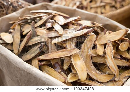 Licorice Herbal Dry Out Medicine In Wooden Chopped And Sliced On The Table