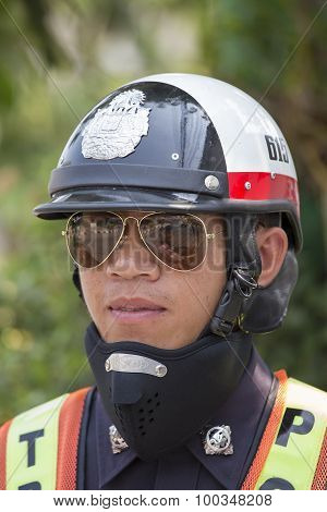 Portrait Traffic Police Officer. Pai, Thailand