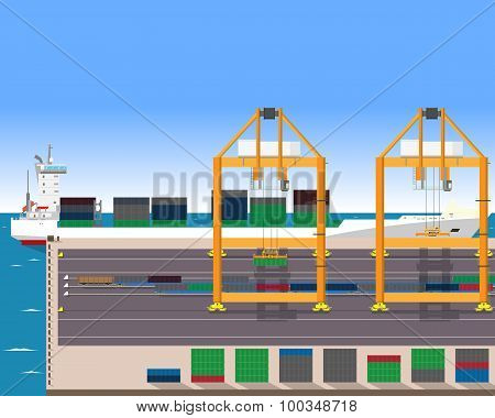 Unloading of a container ship in the port of the train with the help of a container crane. Vector il