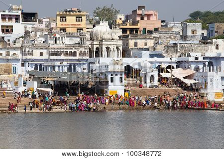 Unidentified People At Holy Pushkar Sarovar Lake In India