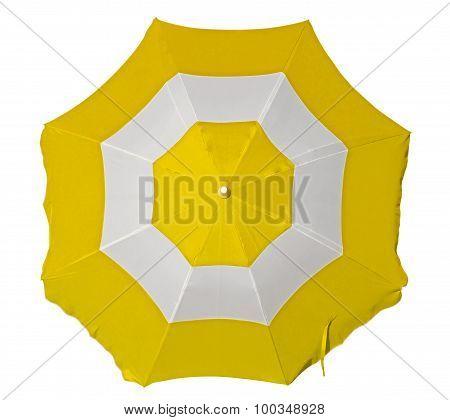 Beach Umbrella With Yellow And White Stripes