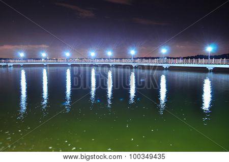 Floating bridge at Changi Beach by night