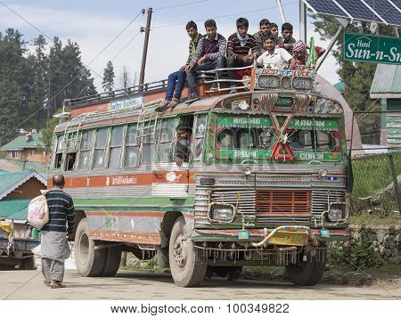 Local Bus In Srinagar, Kashmir, India