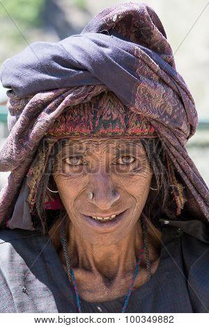 Portrait Indian Woman. Srinagar, Kashmir, India. Close Up