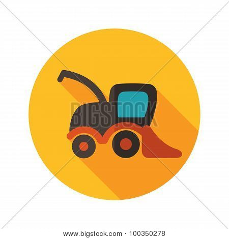Combine Harvester Flat Icon With Long Shadow