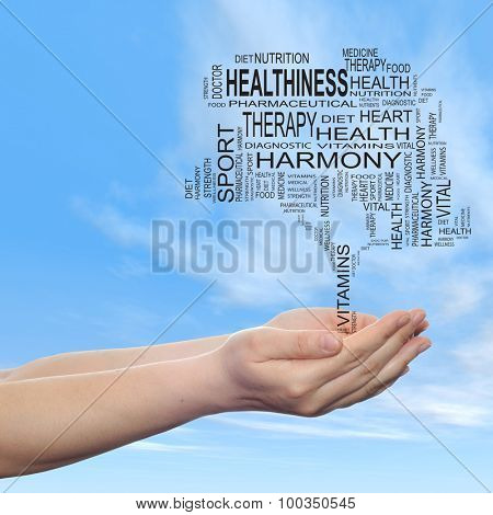 Concept or conceptual black health text word cloud or tagcloud as tree in man or woman hand  on blue sky background