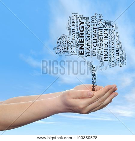 Concept or conceptual black ecology text word cloud tree in man or woman hand on blue sky background