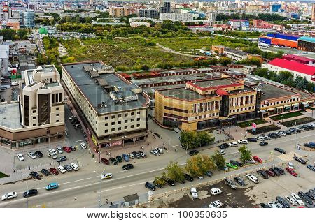 Office buildings and waste ground. Tyumen. Russia