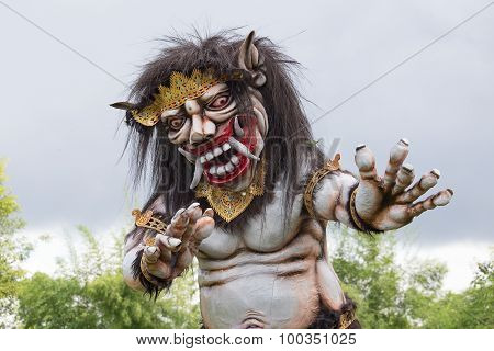 Big Balinese Ogoh Ogoh Monster At Balinese New Year , Indonesia. Close Up