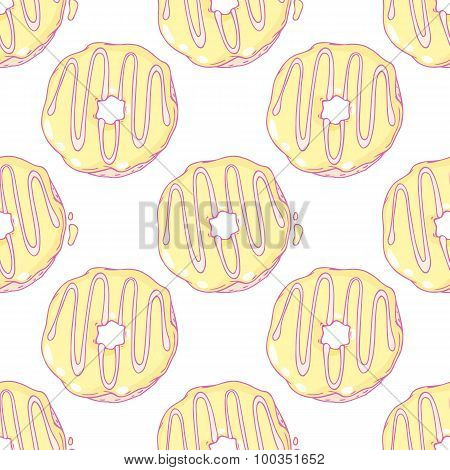 Hand drawn donuts seamless pattern. Sweet background