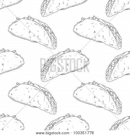 Seamless pattern with hand drawn taco. Background for fast food restaurant, eatery, diner or take aw