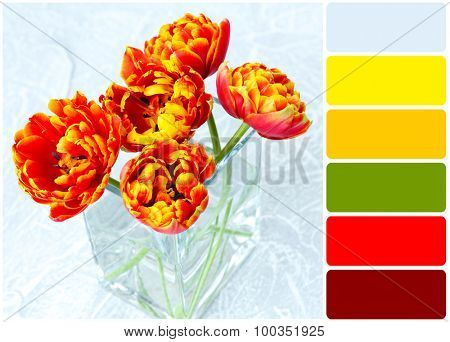 Beautiful bright tulips in glass vase and palette of colors