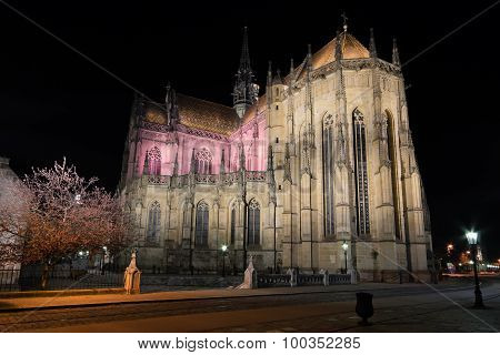 The St. Elisabeth Cathedral At Night