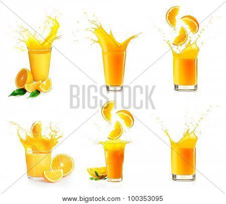 Collage of orange juice splashes isolated on white