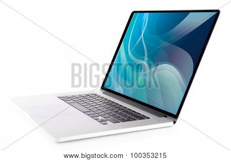 Laptop with blue splash screen isolated on white