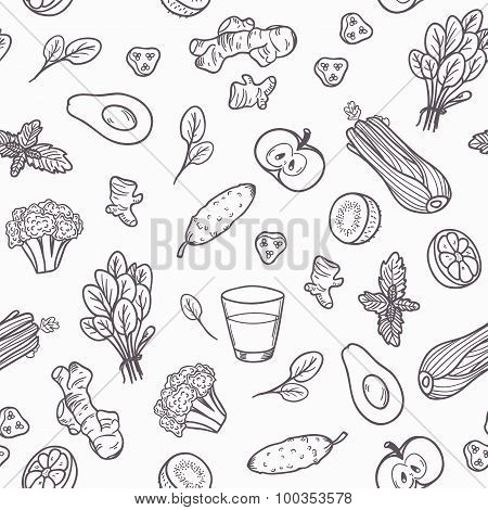 Hand drawn outline vegetables seamless pattern in vector.  Healthy eating background in black and wh