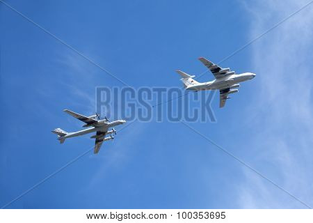 Russian military transport plane Il-78 refueling tankers and Tu-95 turboprop strategic bomber
