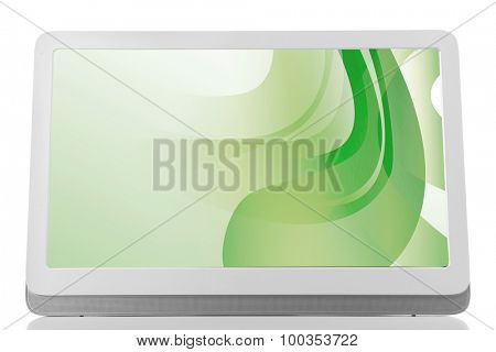 Modern tablet pc with green splash screen isolated on white