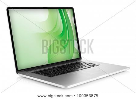 Laptop with green splash screen isolated on white