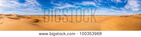 Africa, Morocco-Panoramic view of Erg Chebbi Dunes oriented to Merzouga -Sahara Desert